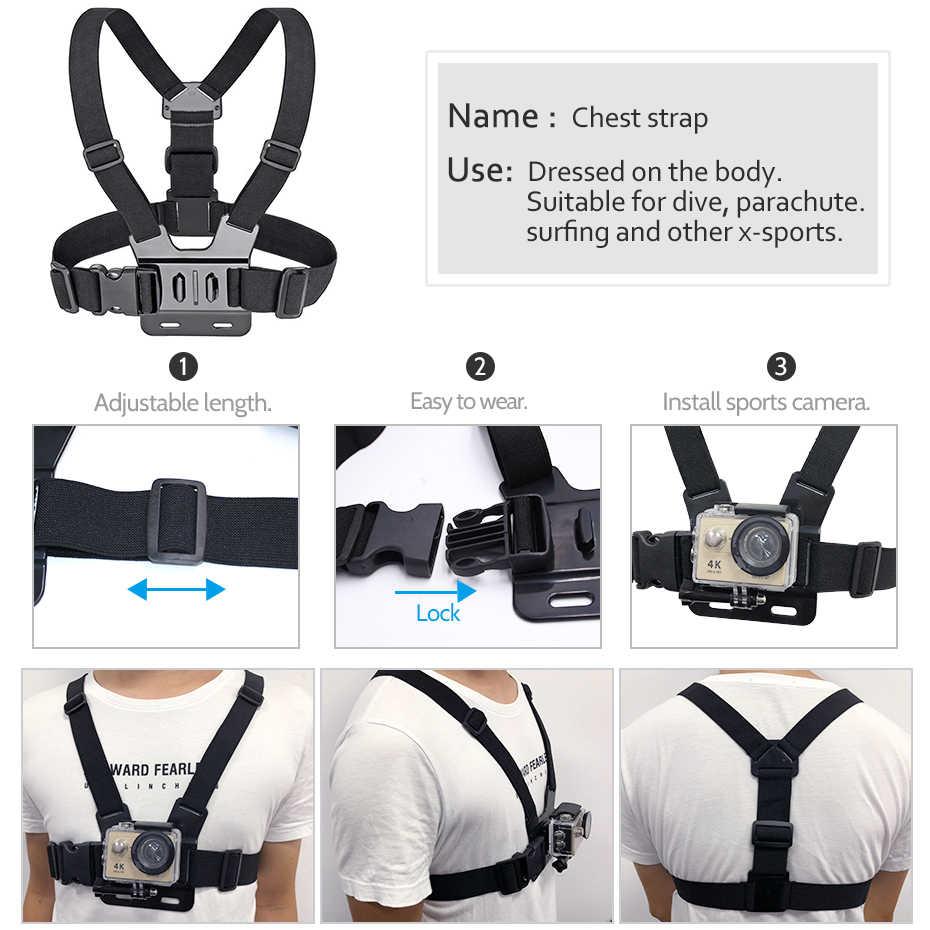 Montar cinta de cabeça Montar Peito Band Para Gopro Hero 6 5 4 3 + Xiaomi yi 4 K Câmera de Ação para SJCAM SJ4000 Ação Acessórios Da Câmera