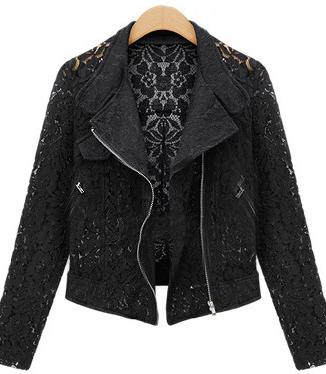 Lace Biker Jacket 2019 Autumn New Brand High Quality Full Lace Outwear Leisure Casual Short Jacket Lace Biker Jacket 2019 Autumn New Brand High Quality Full Lace Outwear Leisure Casual Short Jacket Metal Zipper Jacket FREE SHIP