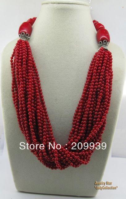 Huij 0026 Style Unique 20nch pierre gemme rouge corail et tibétain argent perles collier discount 40%