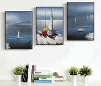Modern Sailing Boat Landscape 3 Pieces Decorative Painting Wall Art Print Picture Canvas Painting For Living