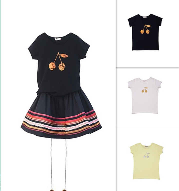 2017 summer girls cherry printed t shirts girls clothing for Printed t shirts wholesale