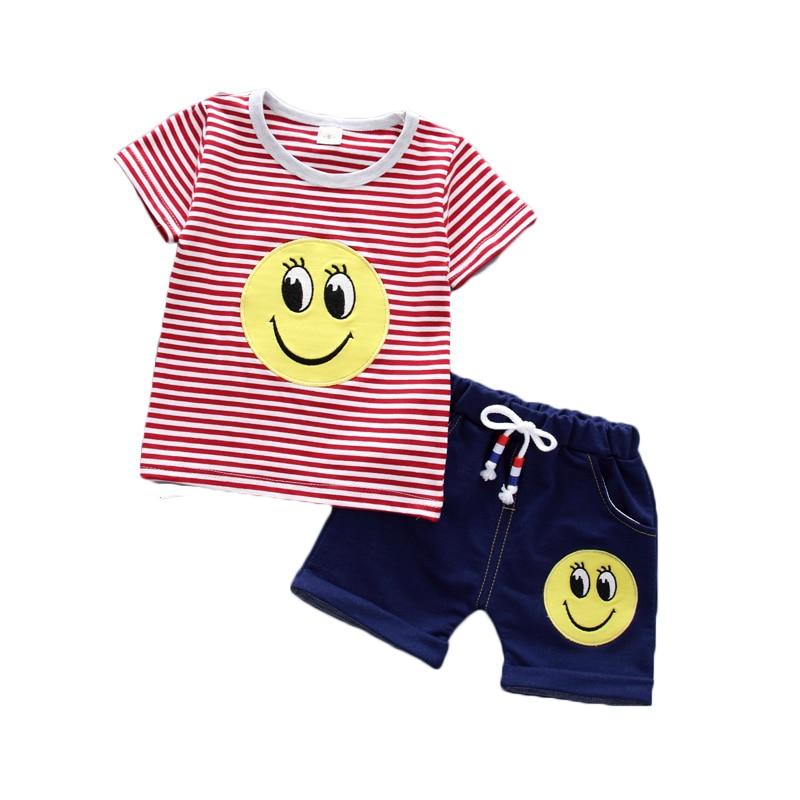 Baby boy summer clothes kids active sets t-shirt+pants 2pcs/suit clothing set big smile face Striped shirt Child sport suits