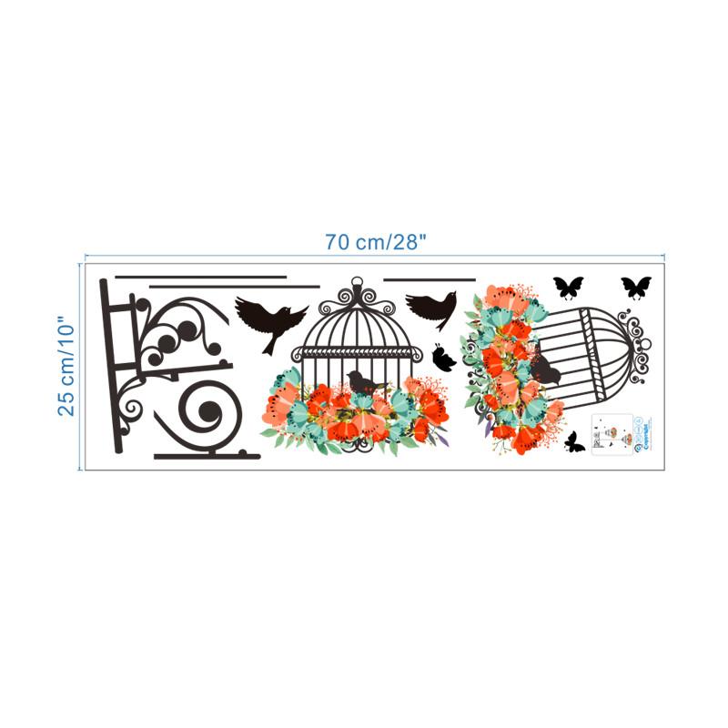 HTB1opxvQXXXXXaxaXXXq6xXFXXXY - Colorful Flower birdcage wall sticker