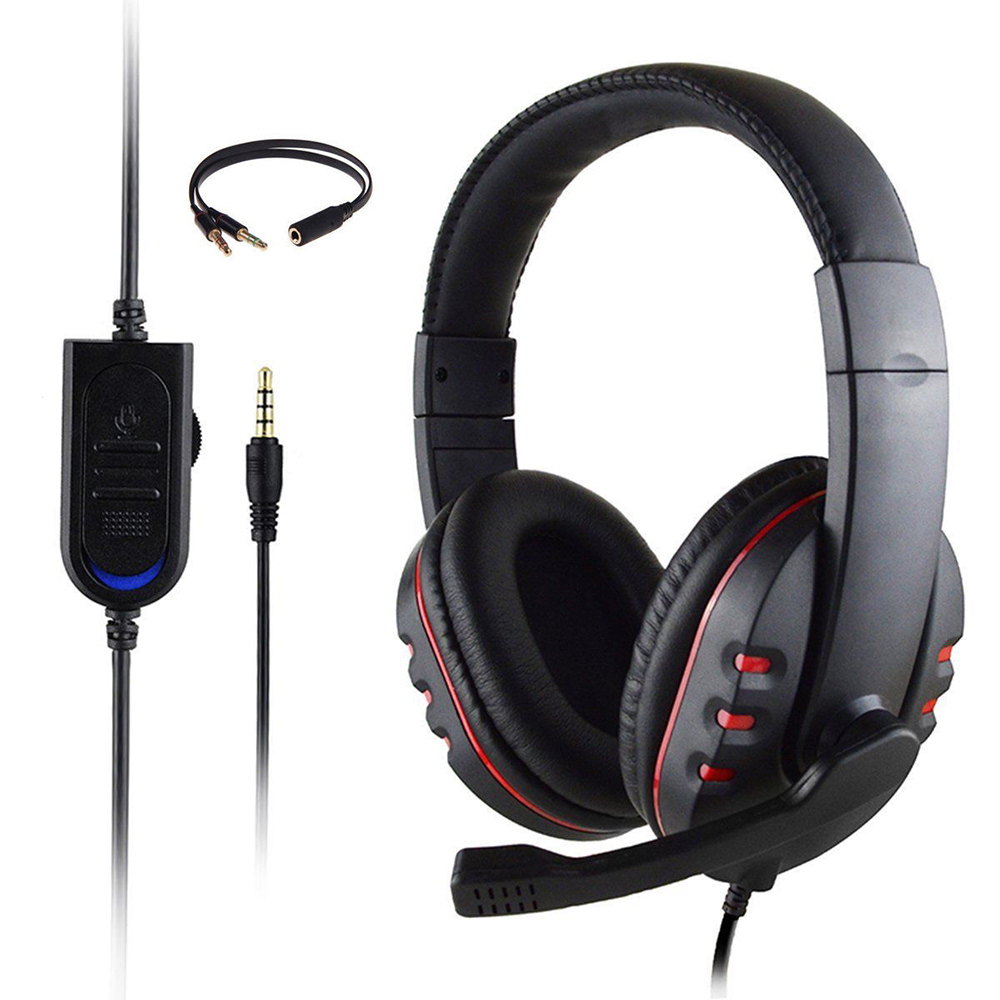 New 3D Stereo Bass Surround Gaming Headset Headphone with Mic 3.5mm Plug for PC PS4 Laptop Xbox one image