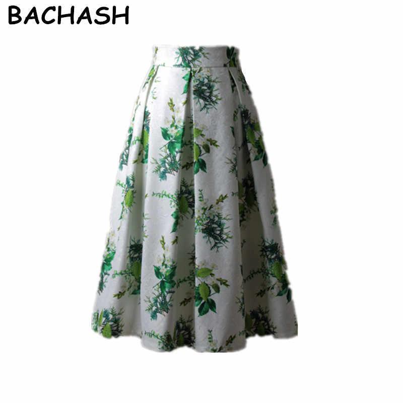 BACHASH Floral Print Knee-Length Skirt Fashion 2018 Green White Vintage  Ball Gown Pleated High 5351948da796