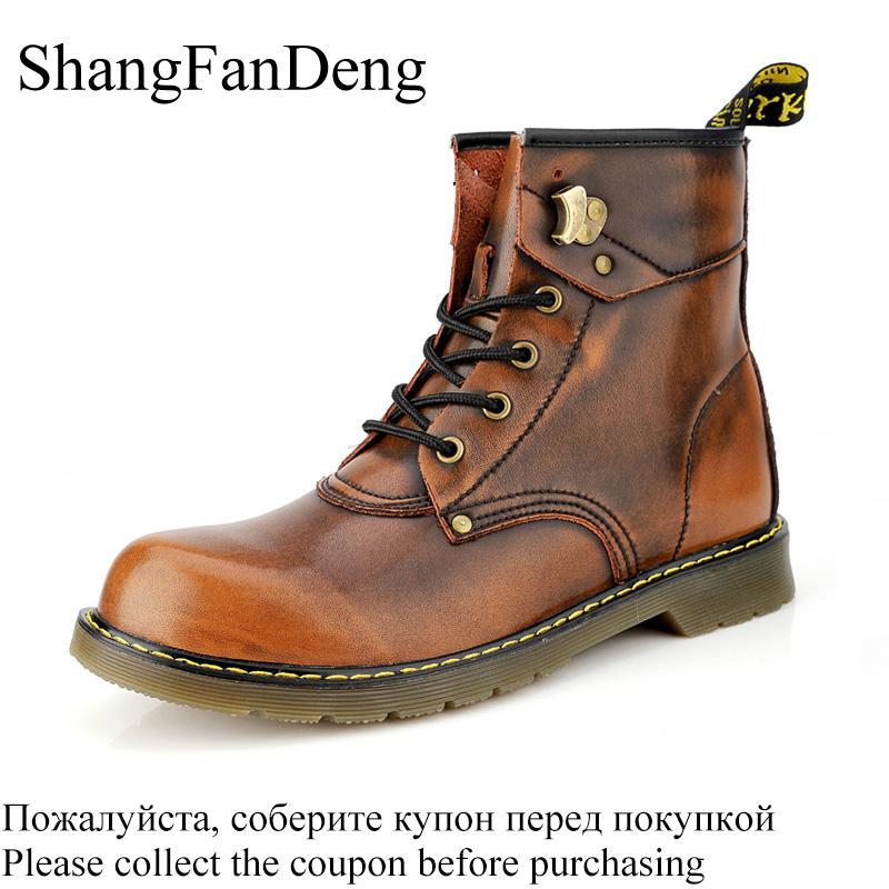 Men Boots Winter Warm Fur Martin Boots Plus Size 47 Genuine Leather Ankle Snow Boots Men Shoes Non-Slip High Top Botas Hombre