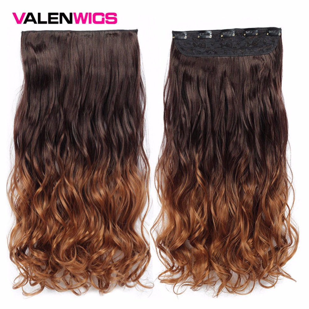 Valenwigs 22 Inches Ombre Wig Clip in Hair Extensions Chocolate Brown Blonde Wavy Style High Tempreture Synthetic Hair Pieces in Synthetic Clip in One Piece from Hair Extensions Wigs