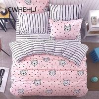 3pcs 4pcs Pink Geometric Girls Bedroom Bedding Set Girl Stripe Bedclothes Polyester Sheet Pillowcase Duvet Cover