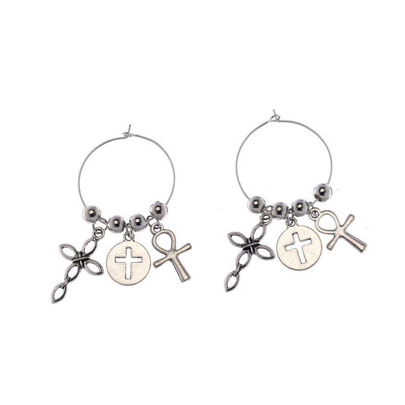 A PAIR OF CUTE LITTLE TIBETAN SILVER  CROSS DANGLY EARRINGS NEW.