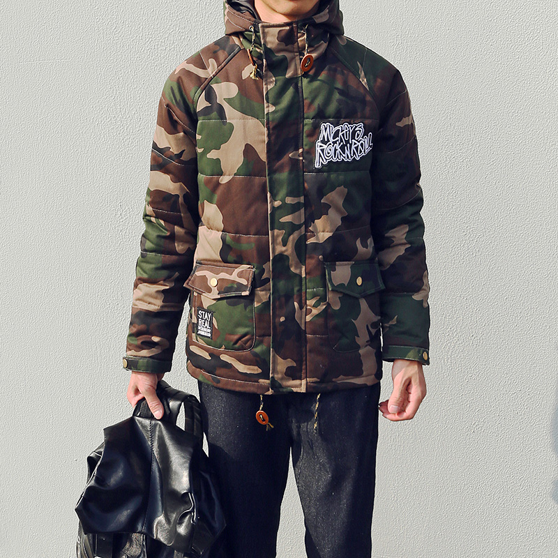 ФОТО New arrival 2016 winter fashion camouflage letter embroidery coat men cotton padded jacket men's clothing size m-5xl /MF10