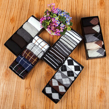 5Pairs/Set Hot Thick Men Socks Brand New High Quality Cotton Dress Business Casual Soft Breathable Autumn Warm Man Long Sock Y1
