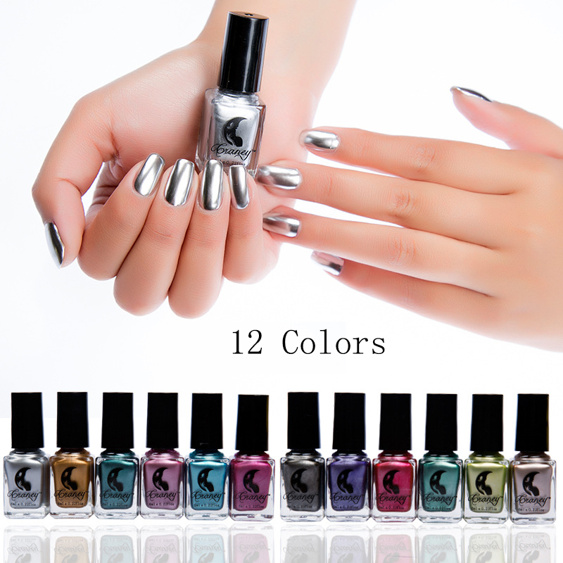 New 12 Colors Metalic Nail Polish Stainless Steel Mirror Silver Nail Polish Nails Art Tips Varnish For DIY Manicure Art Tools