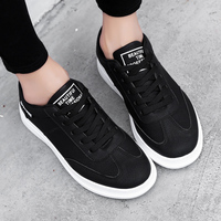 2019 Spring Summer Couple Casual Shoes New Women Small White Shoes Youths Fashion Lace up PU Flats Student Shoes Plus Size 34 45