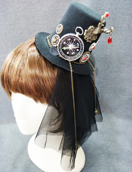 Victorian Punk Mini Top Hat Party Hat Dancing Cocktail Hair Clip Gothic Mini Hats Steampunk Accessories