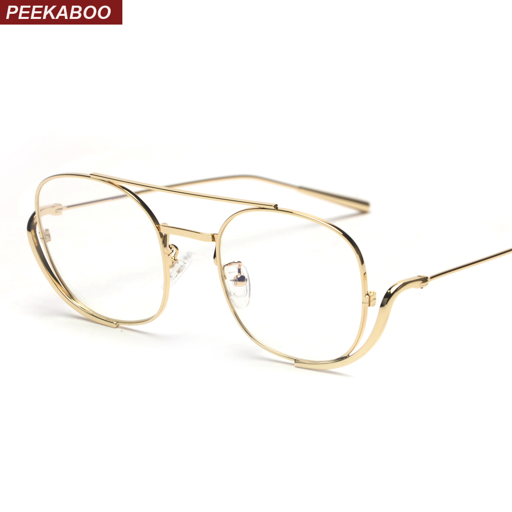 e57f334ad6 Peekaboo male men glasses frame optical 2019 rose gold metal vintage  eyeglass frames for women square clear lens