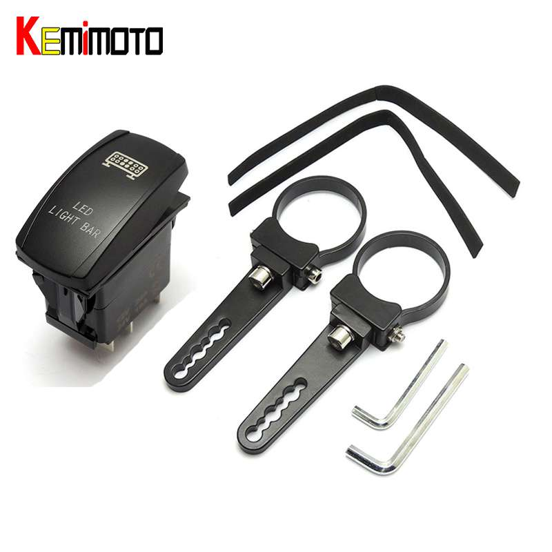 KEMiMOTO 2 Mounting Bracket Tube Clamps Light Bar For Polaris Ranger RZR S XP1000 Top Crossbar Led Light Bar Blue Rocker Switch