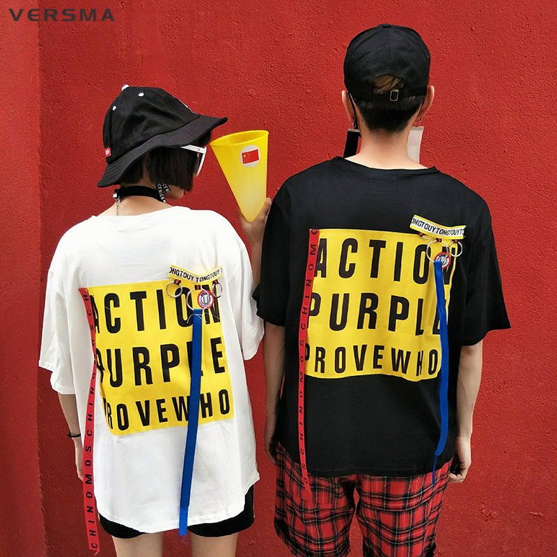 VERSMA 2017 Coréen Ulzzang Harajuku Ruban Patchwork Lettre Imprimé T-shirt hommes Femmes D'été Hip Hop BF Lâche Couple T-shirt hommes
