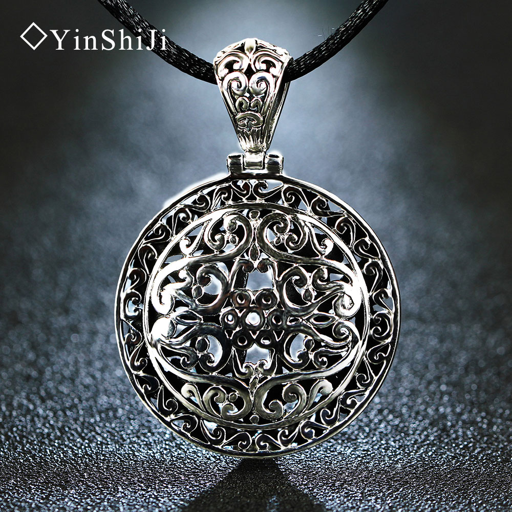 YinShiJi Retro 925 Silver Sterling Big Pendant Necklace Round Hollow Carved Large Medal Silver Jewelry For Women and Men retro carved metal pendant necklace for women