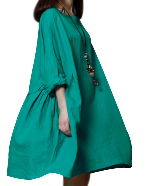 P Ammy Lagenlook Plus Size Linen&Cotton Fashion Short sleeve Dress 3