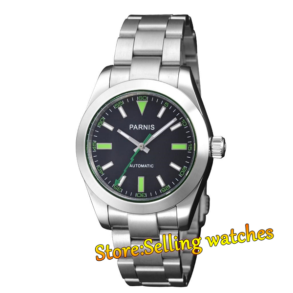 40mm Parnis Sapphire Crystal Black dial Green Number Mens Cool Automatic Watch40mm Parnis Sapphire Crystal Black dial Green Number Mens Cool Automatic Watch