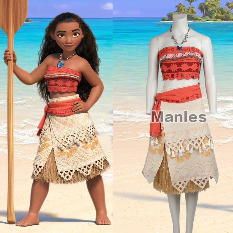Girls Moana Dress Princess Costume Two-Pieces Halloween Cosplay Dress Necklace