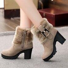 2019Square heel women winter shoes classic buckle warm fur snow ladies boots high heels black platform ankle boots women botas