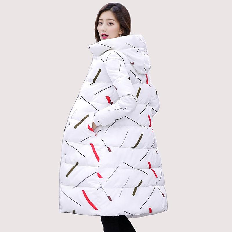 a403665c9bf88 Femme Nouvelle Manteau Épaissir Mince Capot Coton Long Taille Femelle  Survêtement Parkas Noir blanc Plus La 2018 Veste Style Rembourré Hiver Mode  rxEIqar