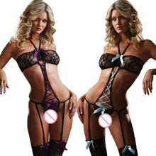 1 Pcs Women Sexy Lace Exposed Breasts Bow Night Lady Sexy Erotic Lingerie Hot Transparent Conjoined Dress Suit Sex Toys