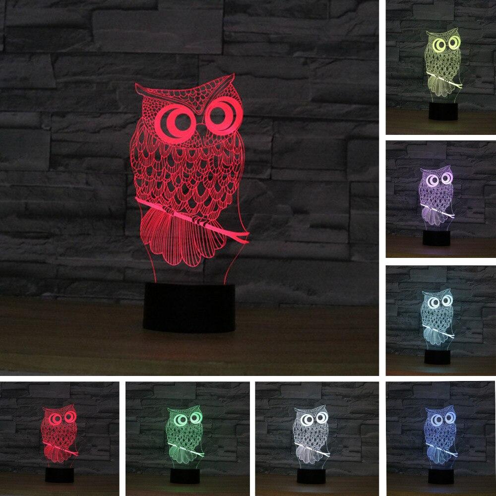3d Owl Led Desk Table Lamp Night Light 7 Color Change Touch Art Home Child Bedroom Sleeping