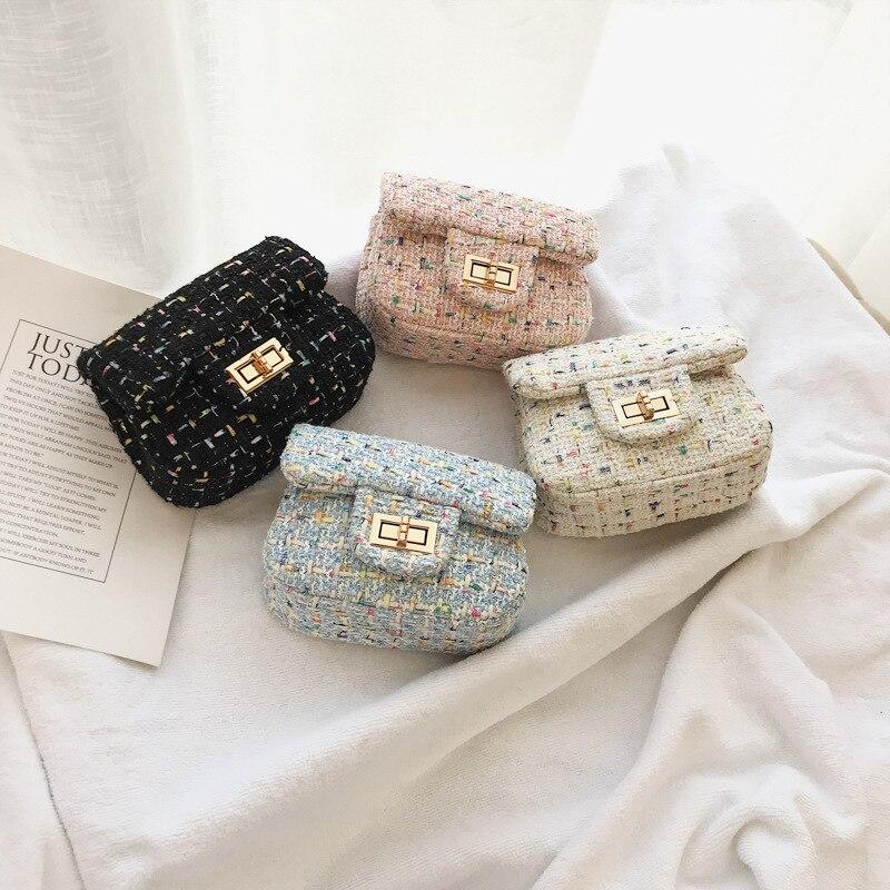 Spring Casual Mini Woolen Small Girl's Cross Body Bag Cute Brand Designer Children Shoulder Bag Kid's Messenger