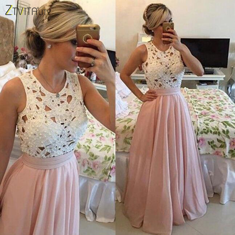 ZTVitality Vestidos de Mujer 2018 Nueva Llegada Rebordear Vestidos de Fiesta Elegantes Vestido de Gasa de Encaje A-Line Empire Sexy Vestido Largo