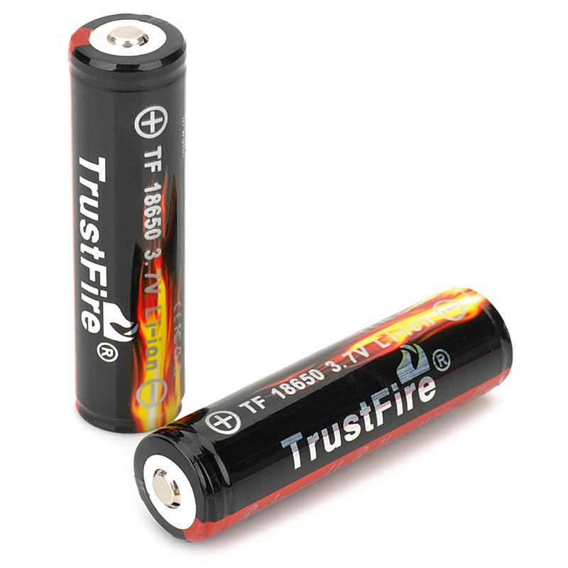 цена 2 PCS/ lot TrustFire Protected 18650 3.7V True 2400mAh Lithium Batteries Rechargeable 18650 Battery for Flashlights