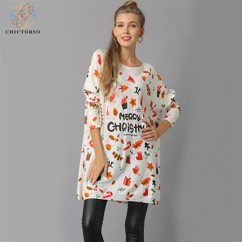 Chictorso Spring Star Print Women Christmas Sweater Dress Casual Girls Autumn Long Sweaters Pullover Colorful Loose Fit Jumper
