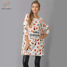 Фотография Chictorso Spring Star Print Women Christmas Sweater Dress Casual Girls Autumn Long Sweaters Pullover Colorful Loose Fit Jumper