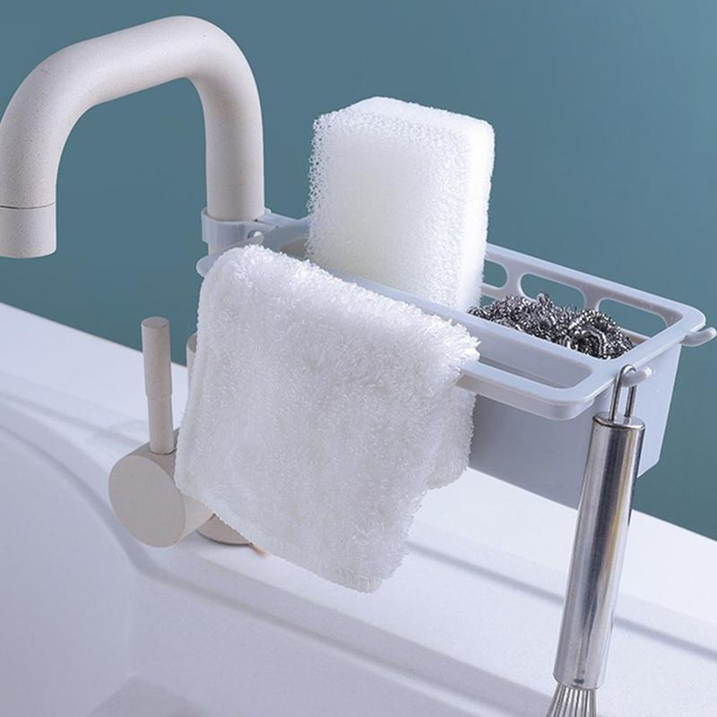 Multifunctional Cutlery Sponge Drainer Kitchen Sink Bathroom Drying Rack Organizer Storage Basket Kitchen Storage Supplies