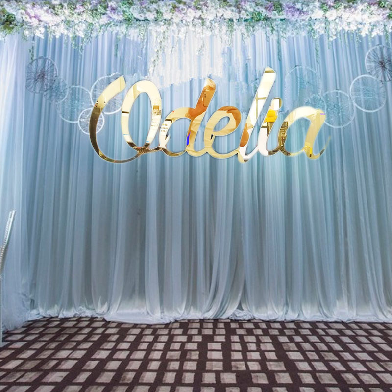 Custom Gold Sign Wedding Baby Shower Decorations Personalized Mirror Gold Acrylic Name Sign Letter Party Room Wall Hanger