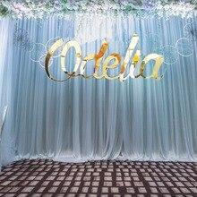 Индивидуальный золотой знак, свадебные украшения для детского душа, персонализированное зеркало, Золотой акриловый знак с именем, буквы, вечерние настенные вешалки для комнаты
