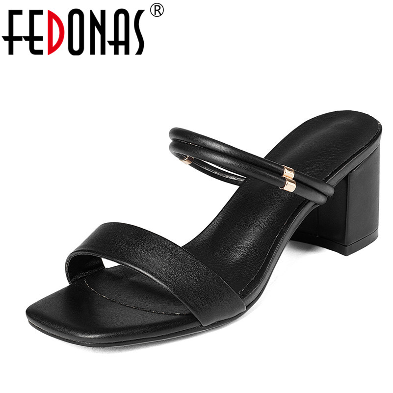 FEDONAS Fashion Women Sandals Summer Genuine Leather Shoes Thick Heel Buckles Elegant Sandals Female Shoes Woman Slippers fedonas women sandals soft genuine leather summer shoes woman platforms wedges heels comfort casual sandals female shoes
