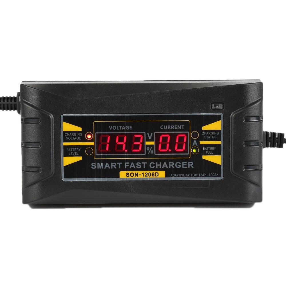 2017 cargador de batería de coche automático EU 110 V a 240 V a 12 V 6A rápido inteligente carga de energía húmedo seco plomo digital LCD