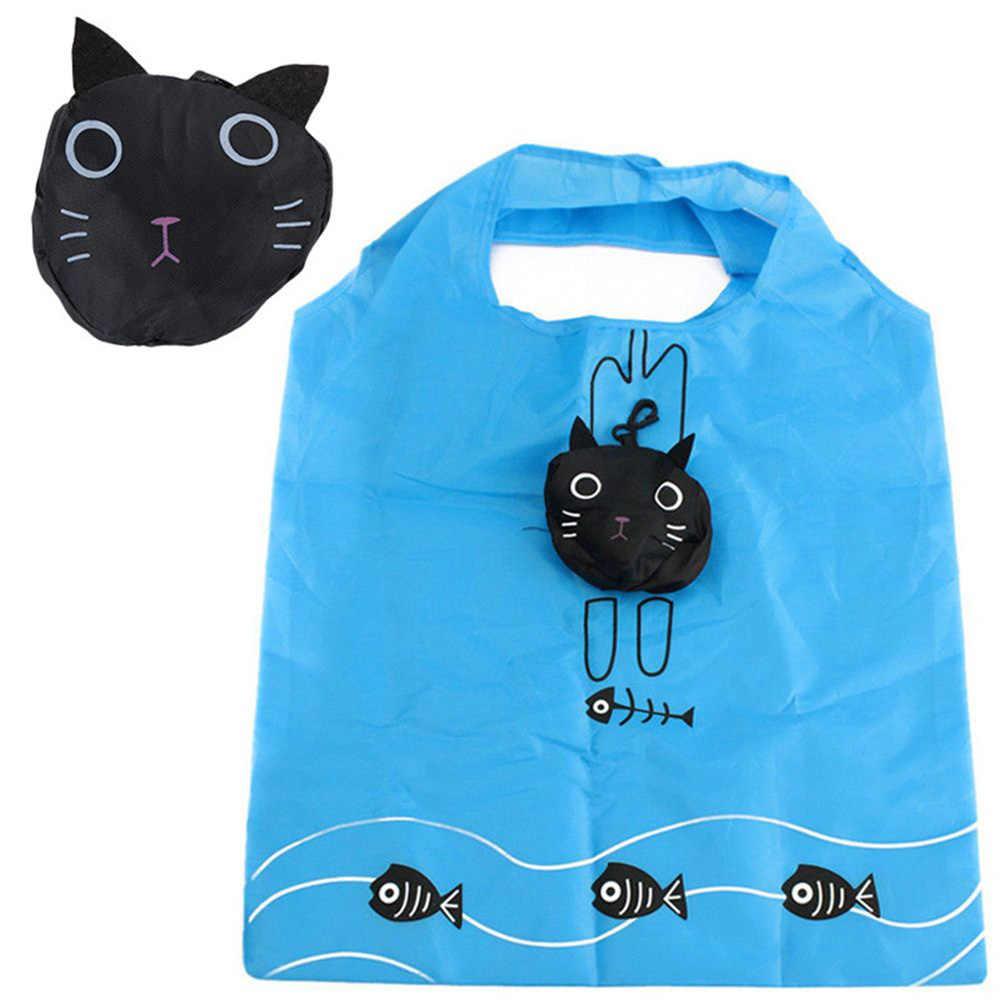 חדש לשימוש חוזר שקיות קניות בעלי החיים חמוד נסיעות מתקפל תיק עמיד נייד נשים מכולת תיק Tote אחסון שקיות ידידותי לסביבה