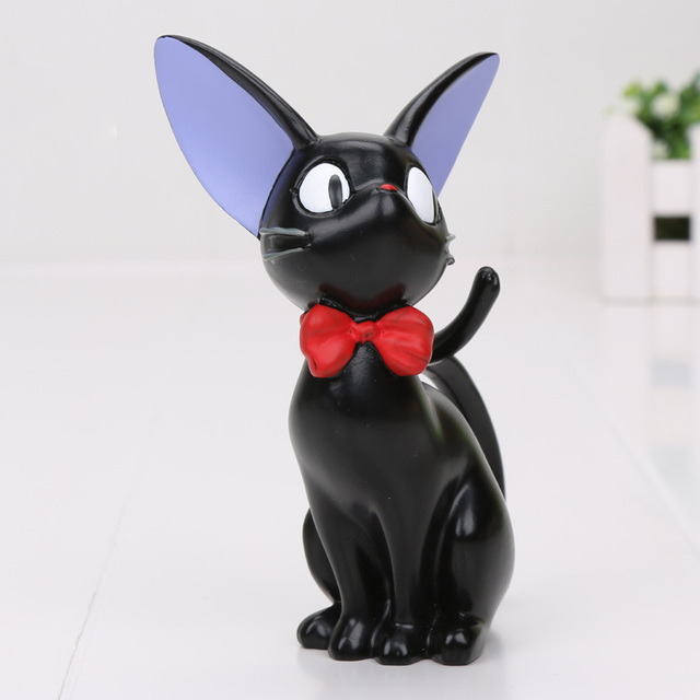 12cm Anime Kikis Delivery Service Figures Black Jiji Cat Resin Action Figures Toys Collection Model Toy