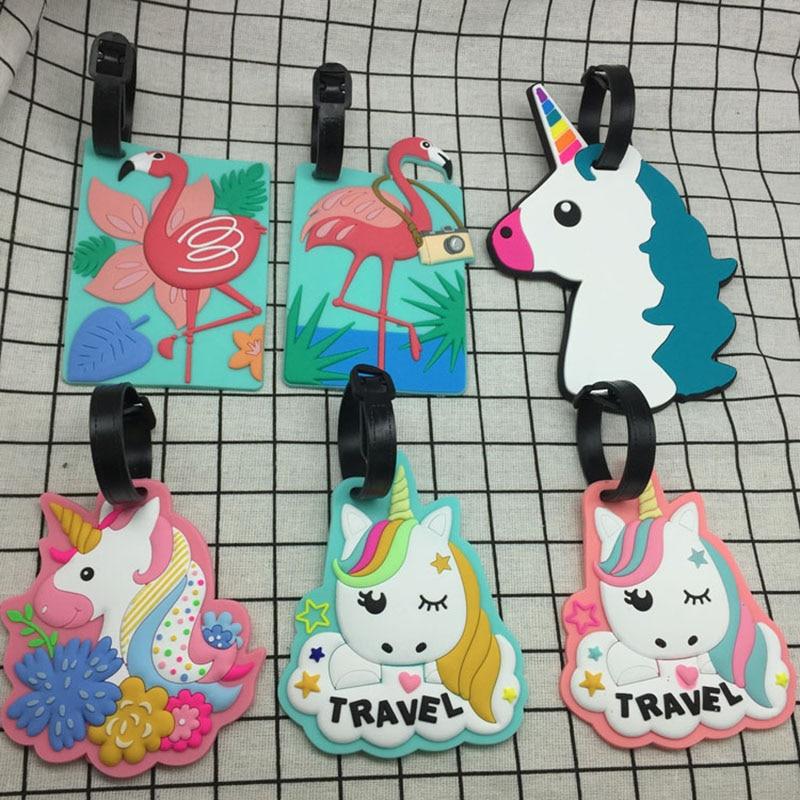 5 Cartoon Unicorn Travel Accessories Luggage Tag Suitcase Flamingo Style Fashion Silicon Portable Travel Label ID Address Holder
