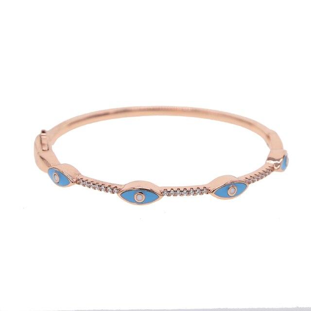 Shinning AAA+ Cubic Zirconia cz enamel evil eye Bracelet&Bangle Female Women Bridal Wedding Jewelry Rose Gold color