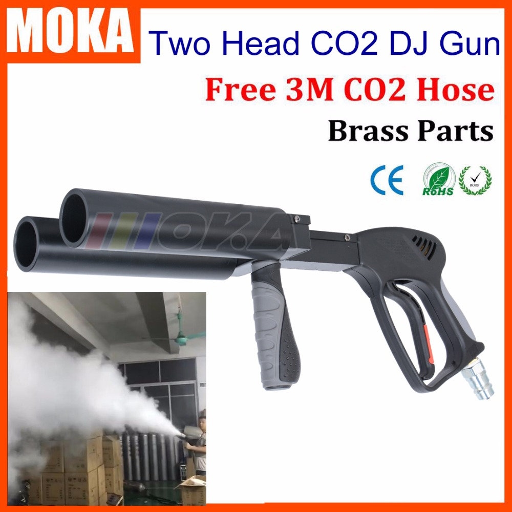 New arrival two head CO2 DJ Gun stage CO2 Jet Machine handheld CO2 Gun Stage Smoke Fogger CO2 Pistol Gun For Night Club new type co2 laser head