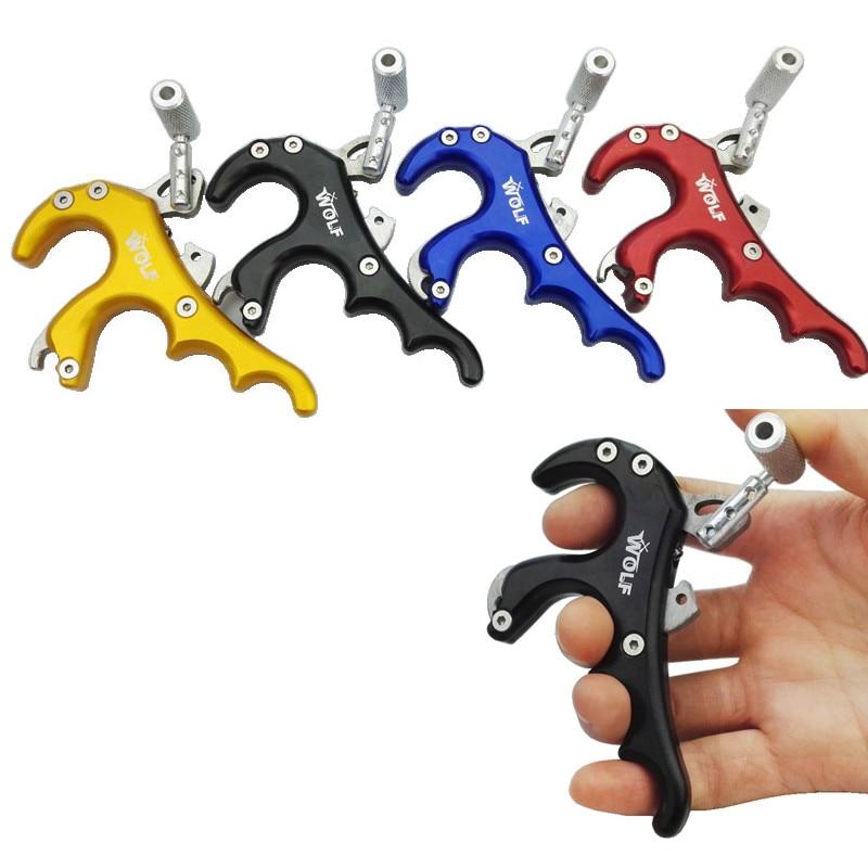 양궁 릴리스 어시스트 4 손가락 그립 캘리퍼스 스테인레스 스틸 복합 활 양궁 엄지 릴리스 어시스트 오른쪽과 왼쪽 손에 맞게