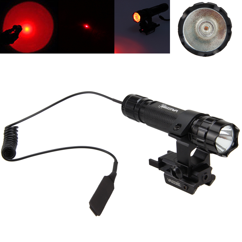 Red Dot Laser Sight Tactical Flashlight  XM-L T6 Led/Q5 Lamp with 20mm Rail Gun Mount Sight Torch for Hunting