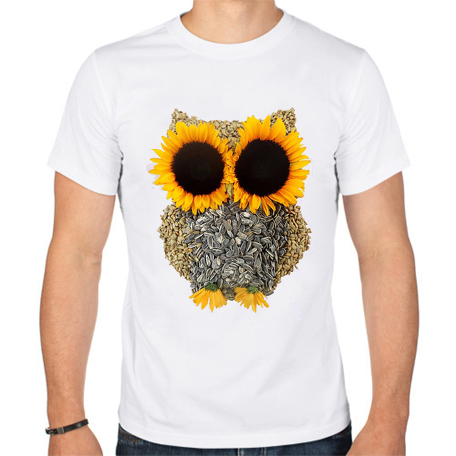 New TEEHEART 2017 Summer Fashion Owl Sunflower Design T ...