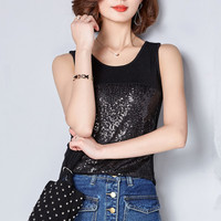 Summer Sequin Women Camisole Tank Tops Sleeveless Slim Fitness Soft Sport Blouse Shirt Solid Black Blue