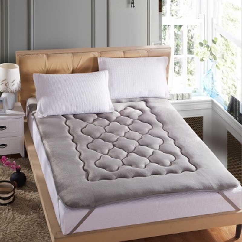 Foldable plush mattress Thick coral velvet tatami mattress ...