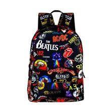 Rock Band The Beatles / ACDC / Iron Maiden / Metallica Backpack for Boys Girls Hemp leaves School Bags for Teenager Women Men